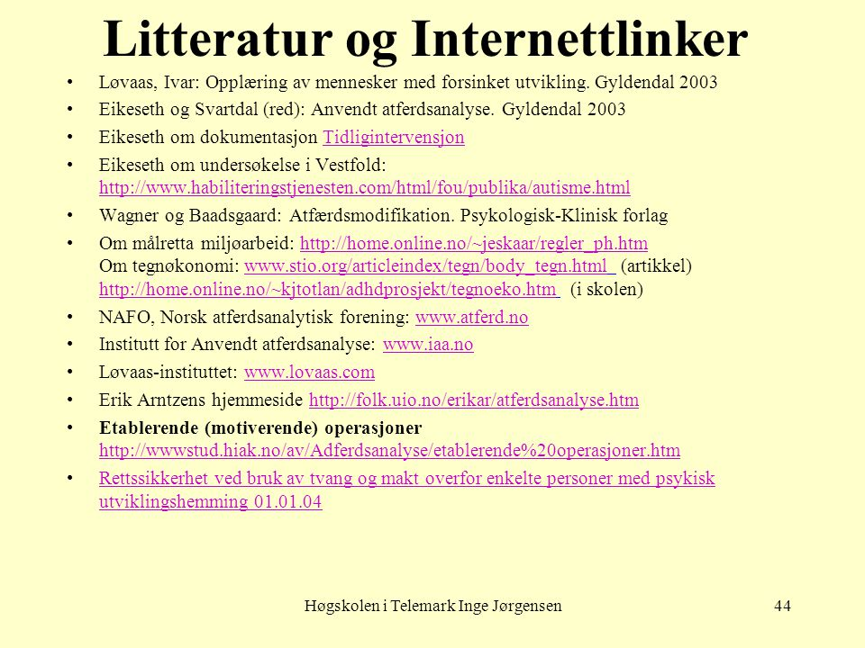 Litteratur og Internettlinker