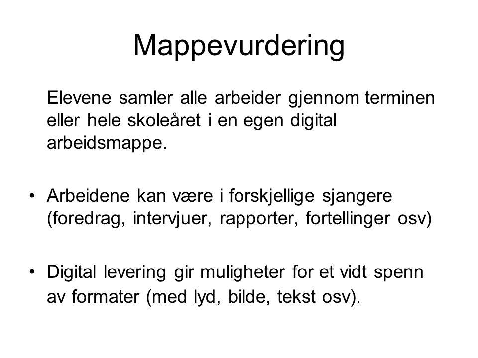 Mappevurdering Elevene samler alle arbeider gjennom terminen eller hele skoleåret i en egen digital arbeidsmappe.
