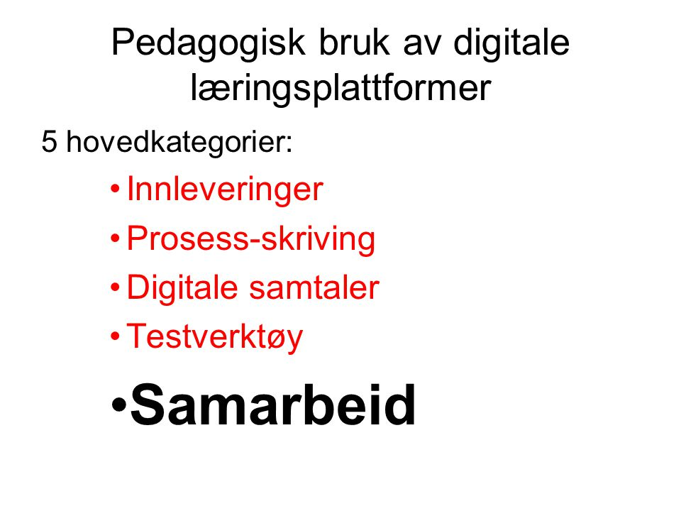 Pedagogisk bruk av digitale læringsplattformer