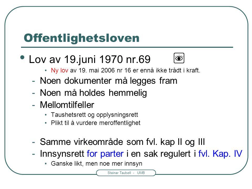 Offentlighetsloven Lov av 19.juni 1970 nr.69