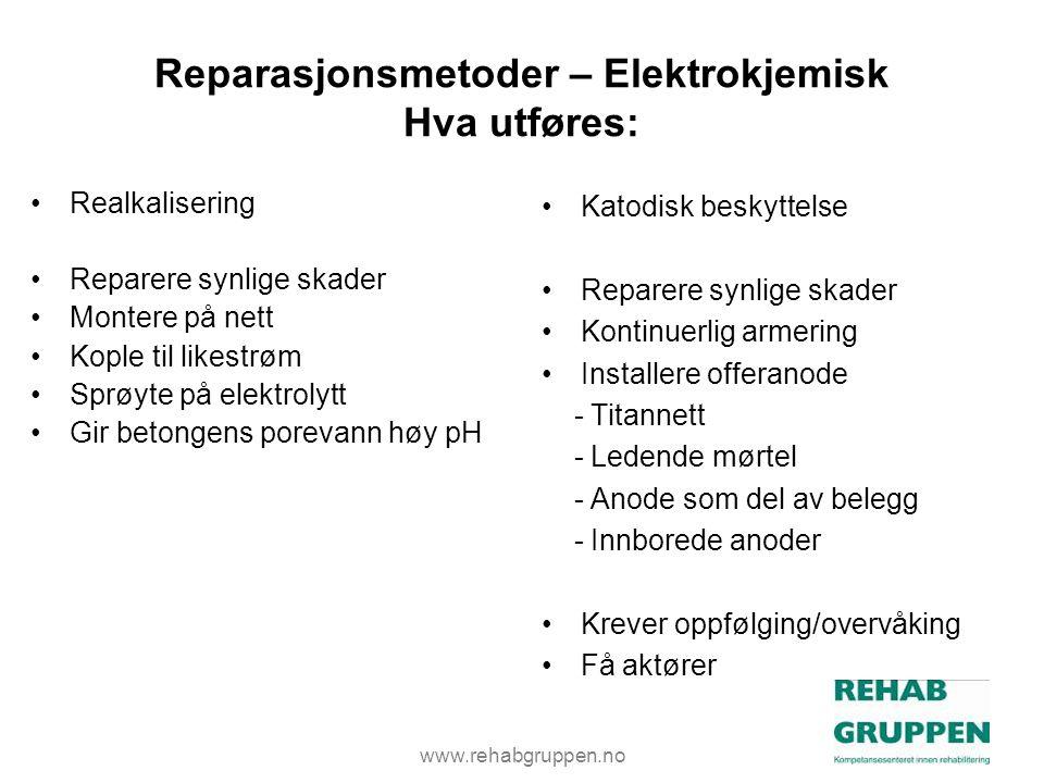 Reparasjonsmetoder – Elektrokjemisk Hva utføres: