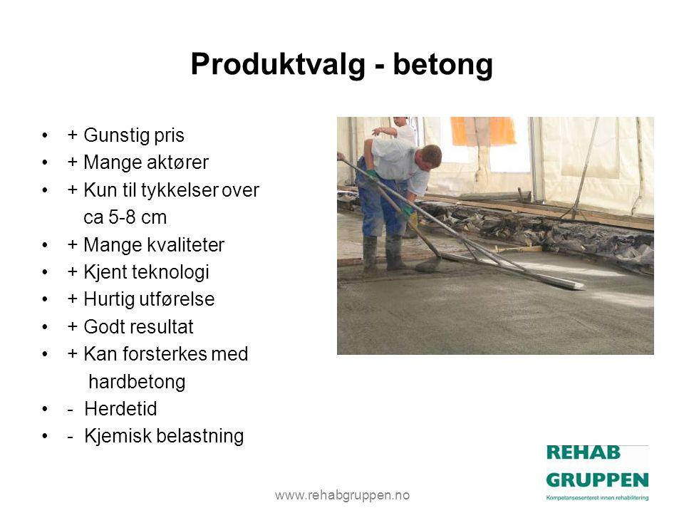 Produktvalg - betong + Gunstig pris + Mange aktører