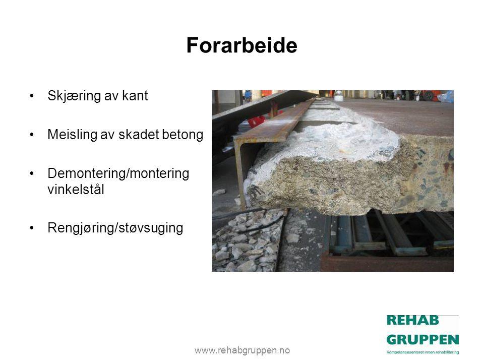 Forarbeide Skjæring av kant Meisling av skadet betong