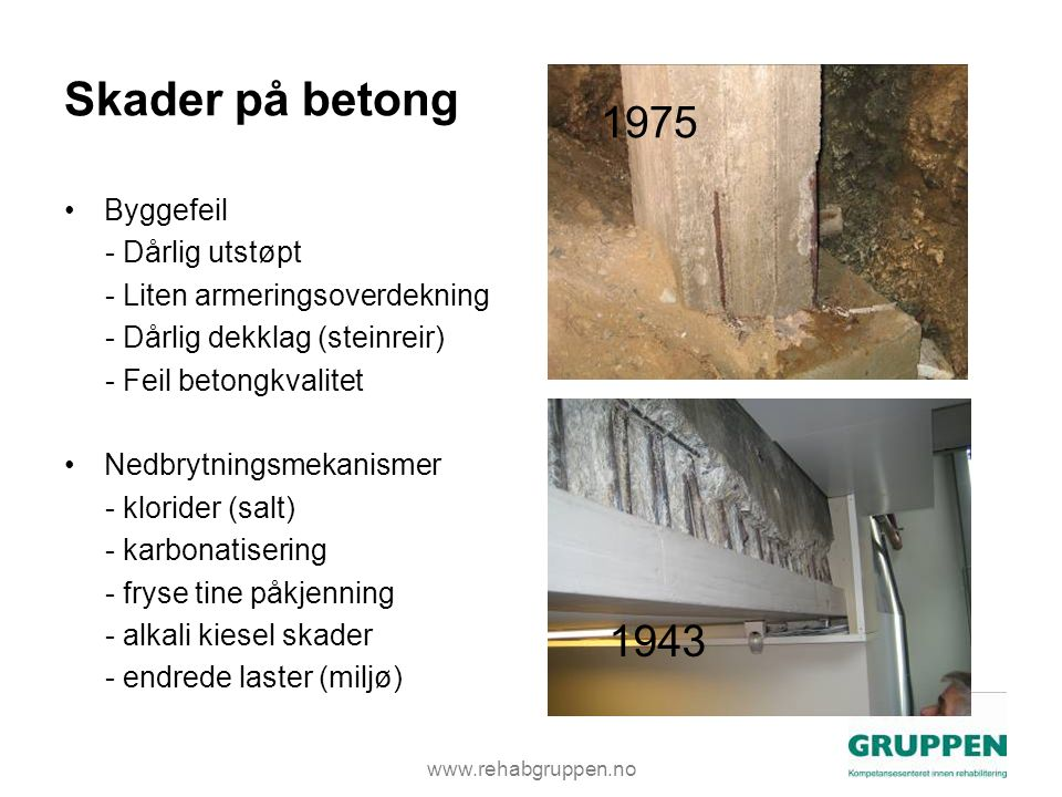 Skader på betong 1975 1943 Byggefeil - Dårlig utstøpt