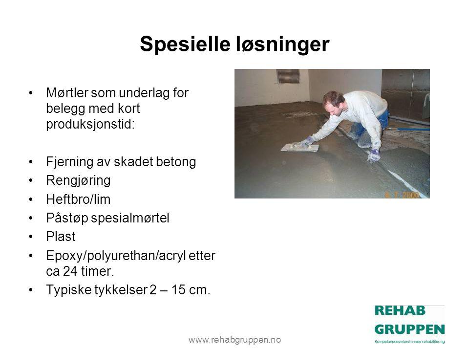 Spesielle løsninger Mørtler som underlag for belegg med kort produksjonstid: Fjerning av skadet betong.