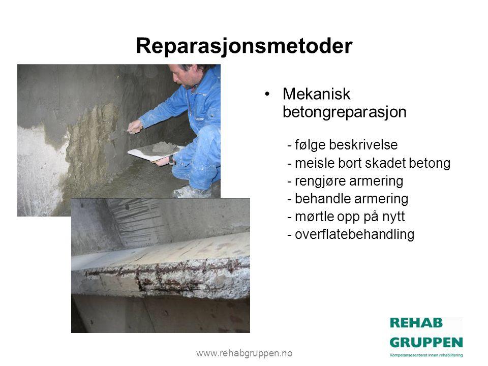 Reparasjonsmetoder Mekanisk betongreparasjon - følge beskrivelse