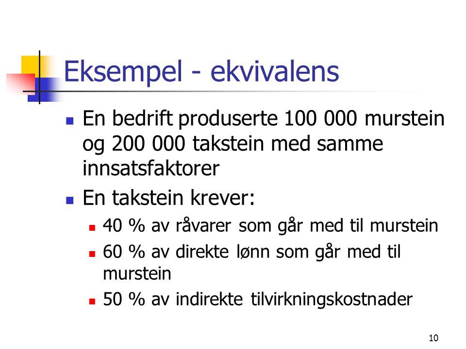 Eksempel - ekvivalens En bedrift produserte 100 000 murstein og 200 000 takstein med samme innsatsfaktorer.