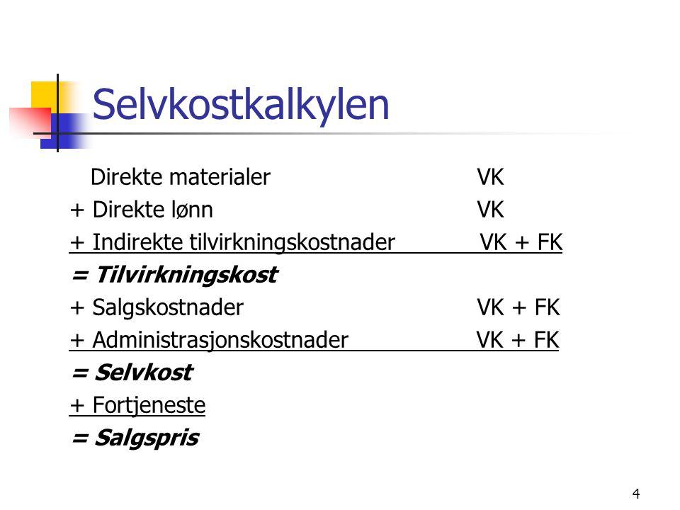 Selvkostkalkylen Direkte materialer VK + Direkte lønn VK