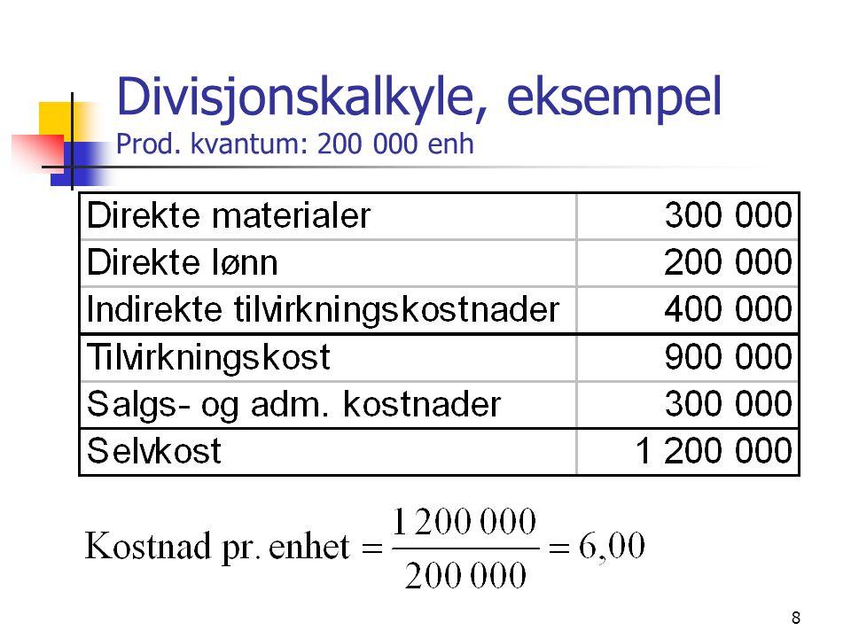 Divisjonskalkyle, eksempel Prod. kvantum: 200 000 enh