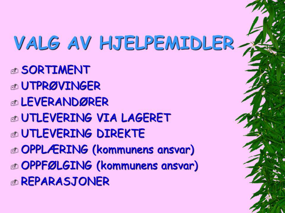 VALG AV HJELPEMIDLER SORTIMENT UTPRØVINGER LEVERANDØRER
