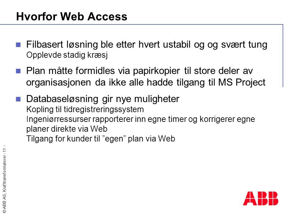 Hvorfor Web Access Filbasert løsning ble etter hvert ustabil og og svært tung Opplevde stadig kræsj.