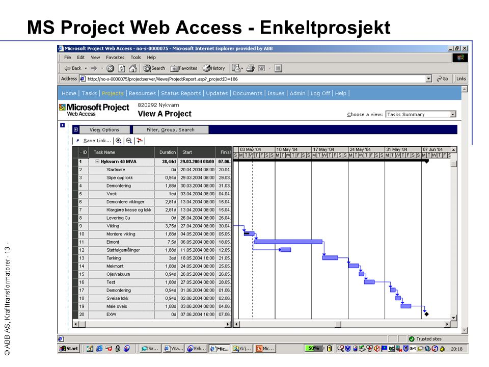 MS Project Web Access - Enkeltprosjekt