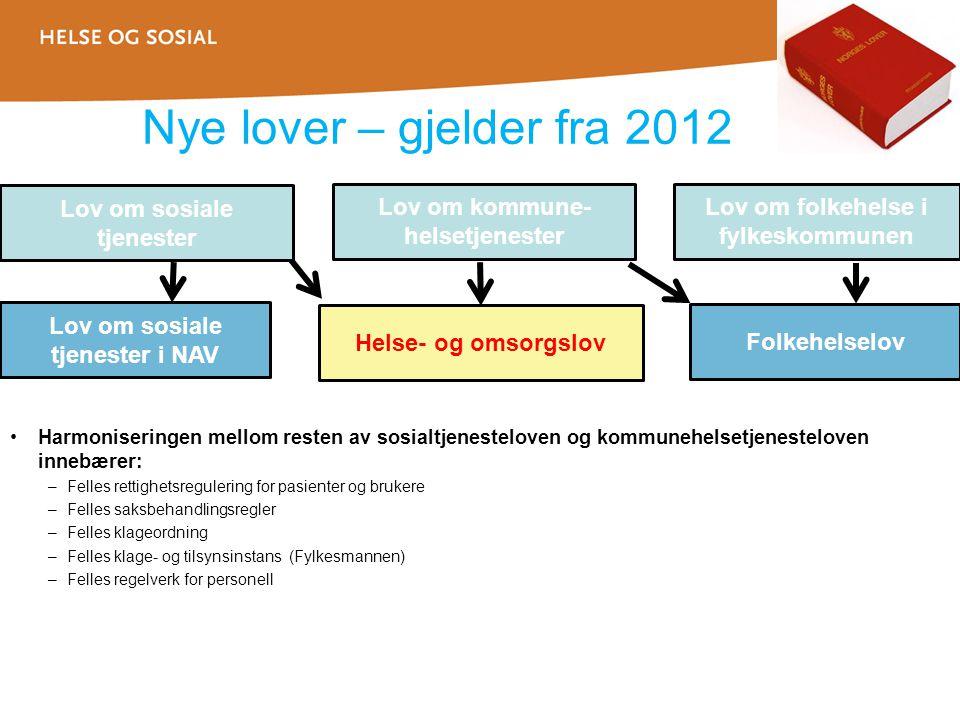 Nye lover – gjelder fra 2012 Lov om sosiale tjenester Lov om kommune-