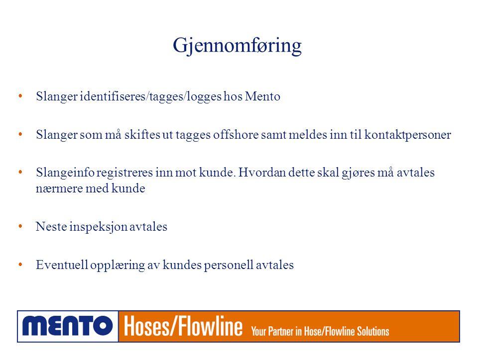 Gjennomføring Slanger identifiseres/tagges/logges hos Mento