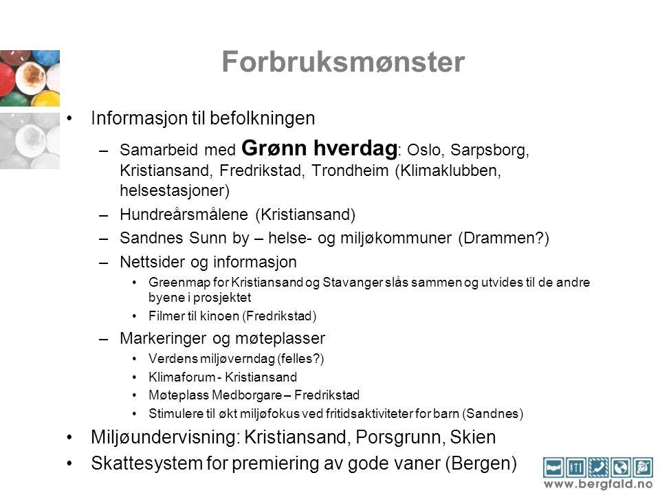 Forbruksmønster Informasjon til befolkningen