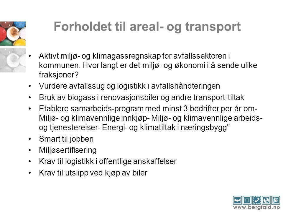 Forholdet til areal- og transport