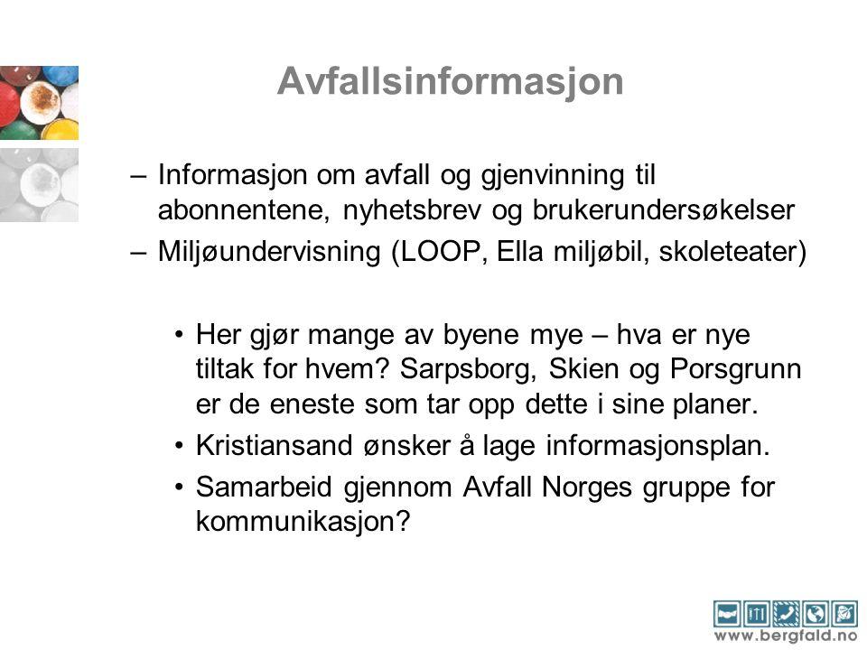Avfallsinformasjon Informasjon om avfall og gjenvinning til abonnentene, nyhetsbrev og brukerundersøkelser.
