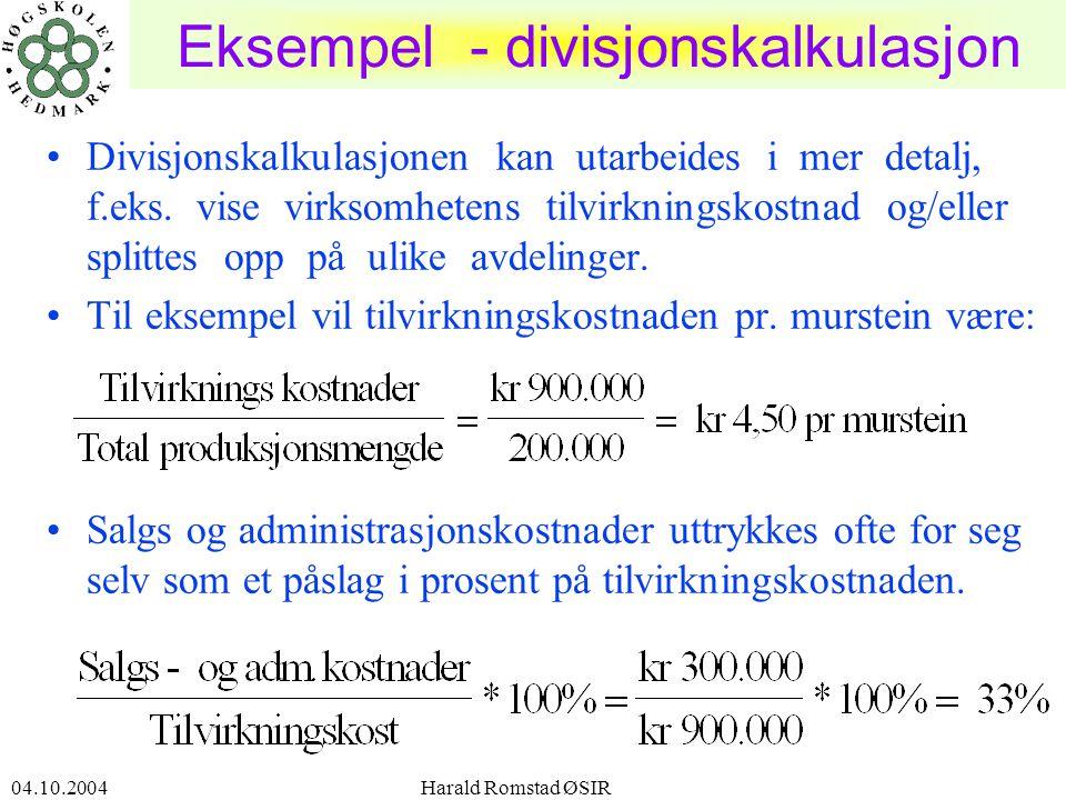 Eksempel - divisjonskalkulasjon
