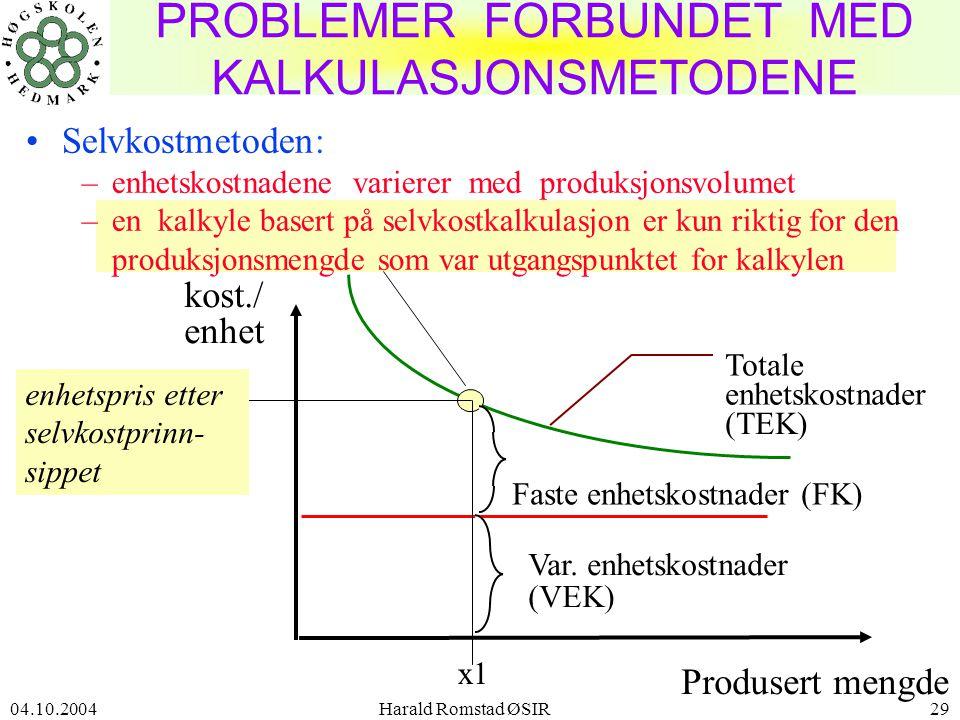 PROBLEMER FORBUNDET MED KALKULASJONSMETODENE