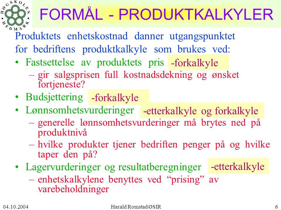 FORMÅL - PRODUKTKALKYLER