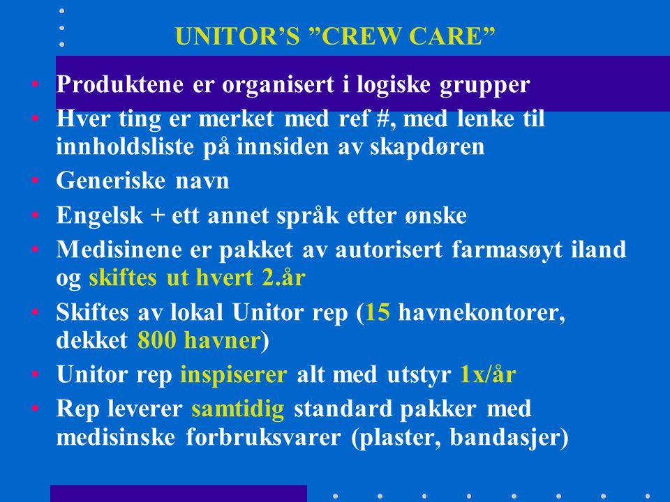 UNITOR'S CREW CARE Produktene er organisert i logiske grupper. Hver ting er merket med ref #, med lenke til innholdsliste på innsiden av skapdøren.