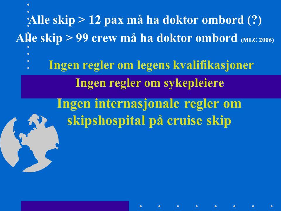 Ingen internasjonale regler om skipshospital på cruise skip