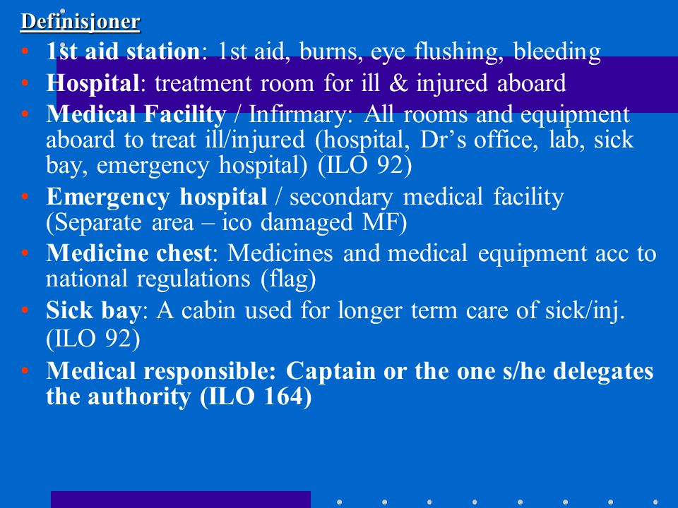 1st aid station: 1st aid, burns, eye flushing, bleeding
