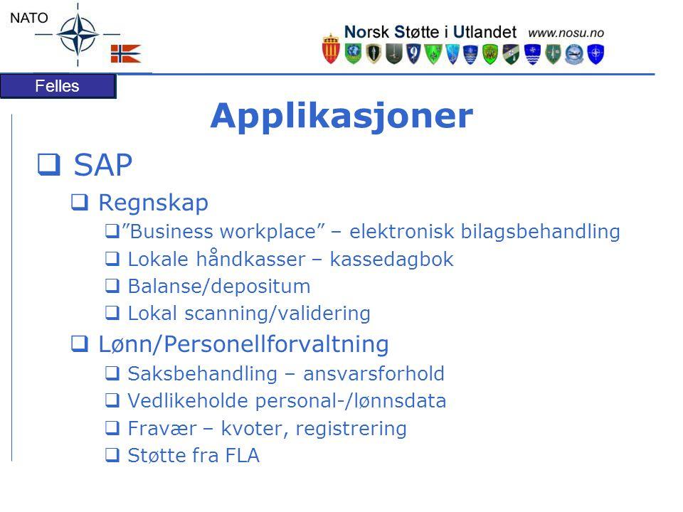 Applikasjoner SAP Regnskap Lønn/Personellforvaltning