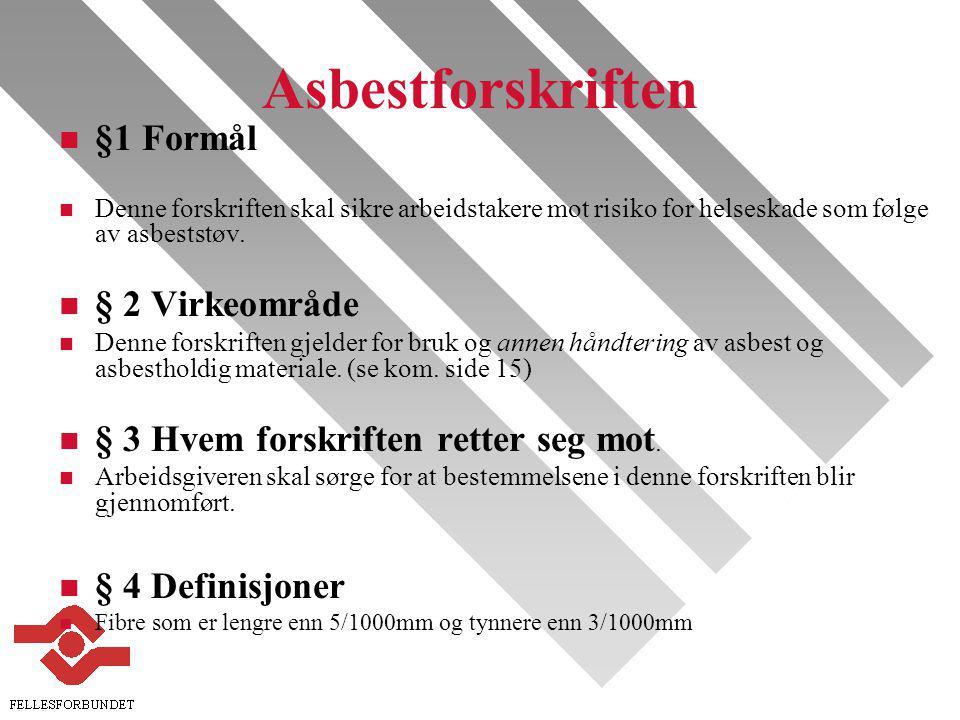 Asbestforskriften §1 Formål § 2 Virkeområde