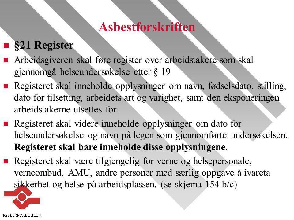 Asbestforskriften §21 Register
