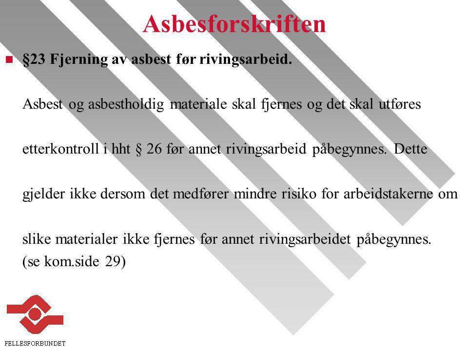 Asbesforskriften §23 Fjerning av asbest før rivingsarbeid.