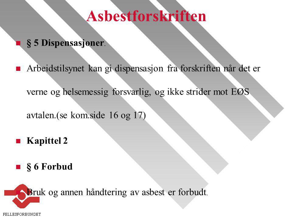 Asbestforskriften § 5 Dispensasjoner.