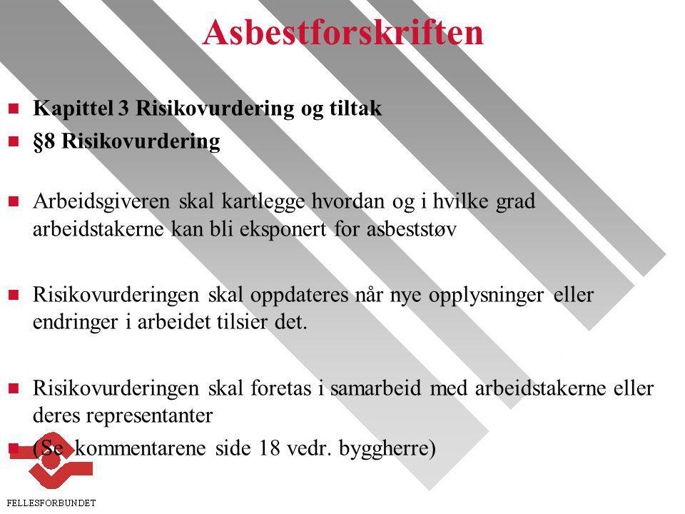 Asbestforskriften Kapittel 3 Risikovurdering og tiltak