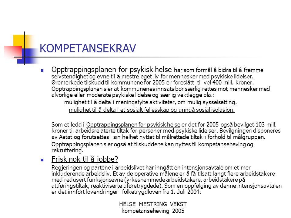 HELSE MESTRING VEKST kompetanseheving 2005