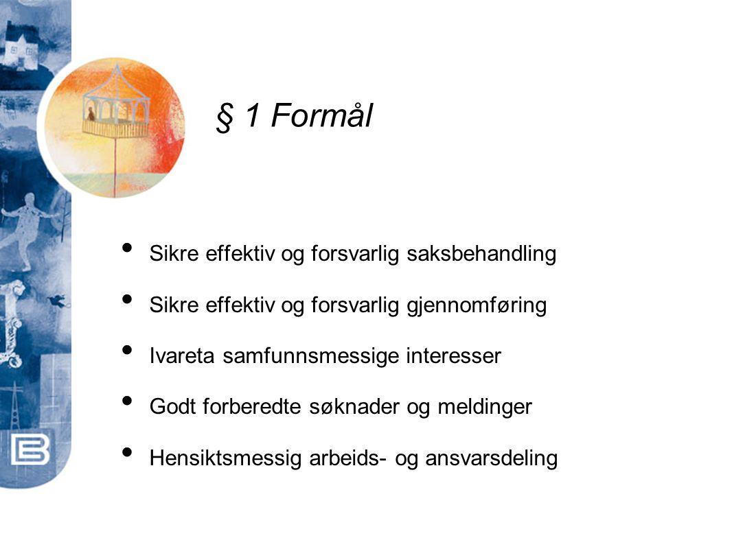 § 1 Formål Sikre effektiv og forsvarlig saksbehandling