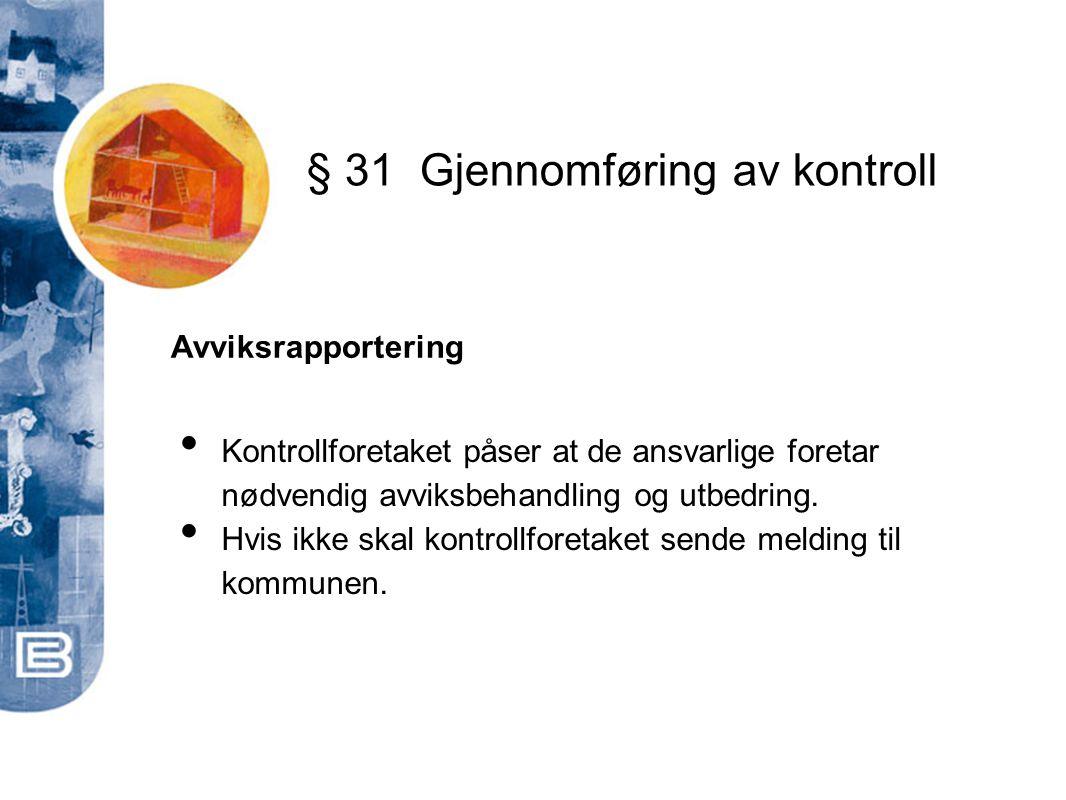 § 31 Gjennomføring av kontroll
