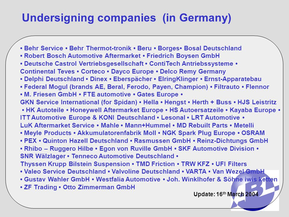 Undersigning companies (in Germany)