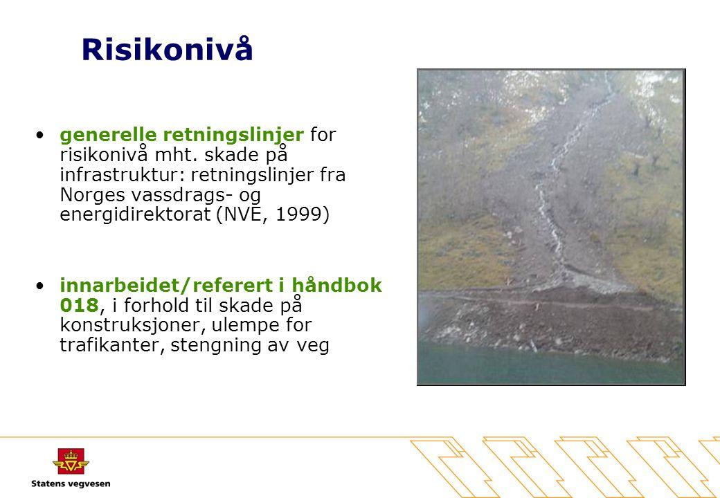 Risikonivå generelle retningslinjer for risikonivå mht. skade på infrastruktur: retningslinjer fra Norges vassdrags- og energidirektorat (NVE, 1999)