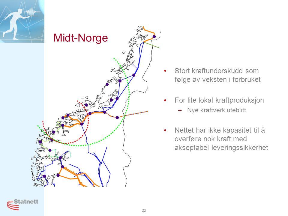 Midt-Norge Stort kraftunderskudd som følge av veksten i forbruket