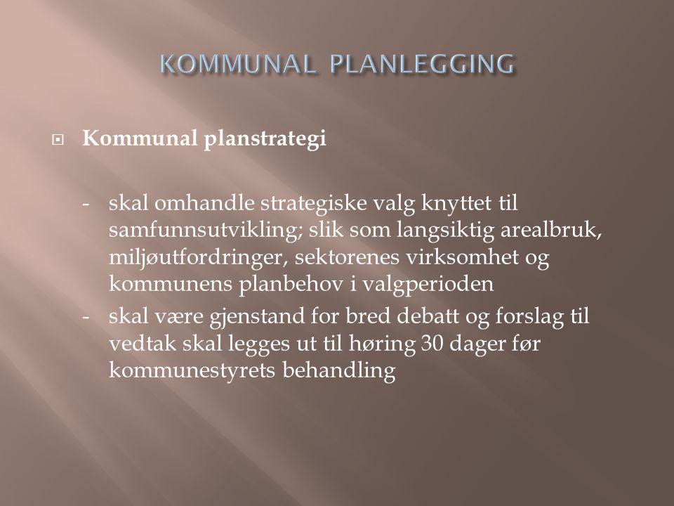 KOMMUNAL PLANLEGGING Kommunal planstrategi