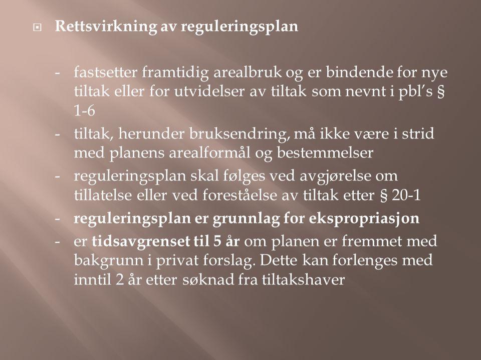 Rettsvirkning av reguleringsplan