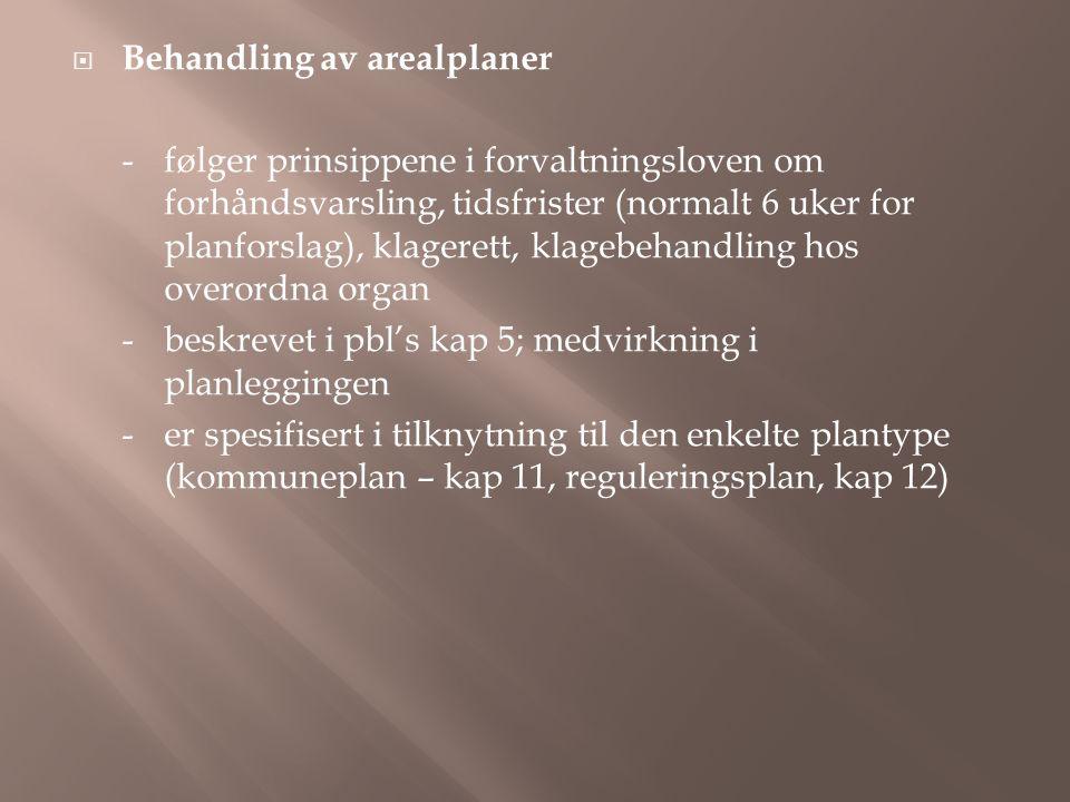 Behandling av arealplaner