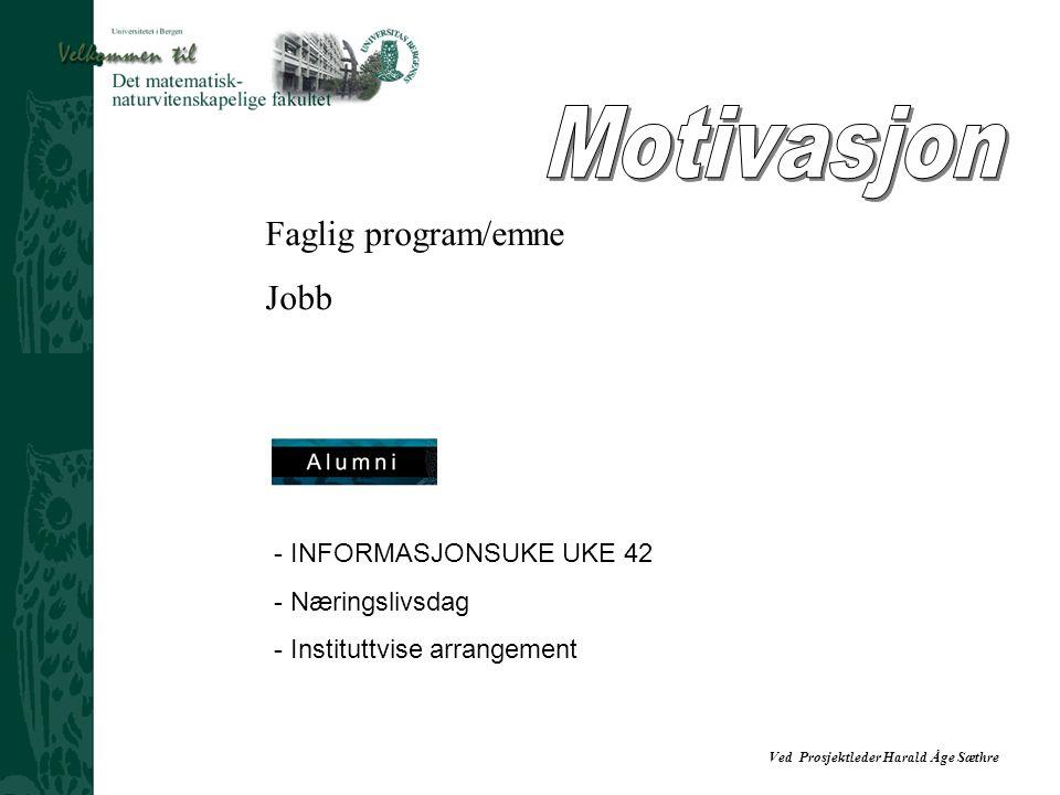 Motivasjon Faglig program/emne Jobb INFORMASJONSUKE UKE 42