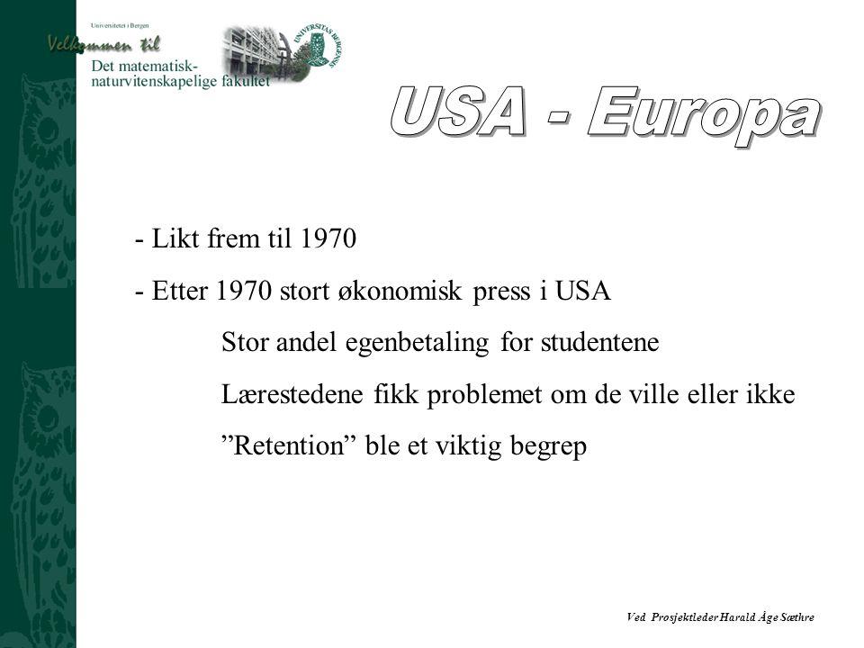 USA - Europa Likt frem til 1970 Etter 1970 stort økonomisk press i USA