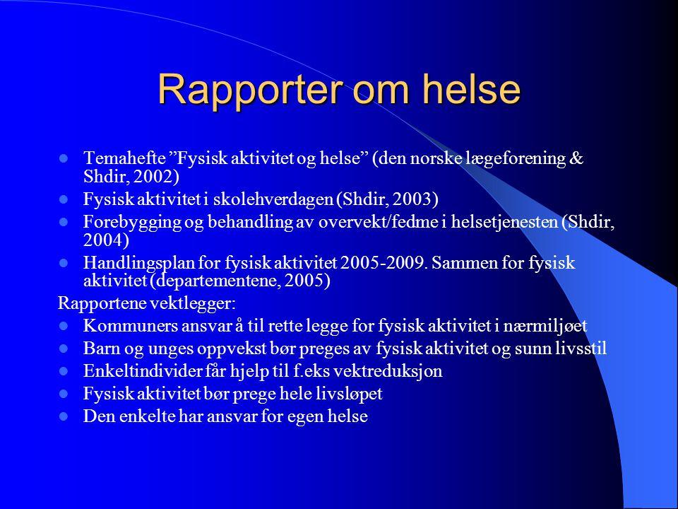 Rapporter om helse Temahefte Fysisk aktivitet og helse (den norske lægeforening & Shdir, 2002) Fysisk aktivitet i skolehverdagen (Shdir, 2003)