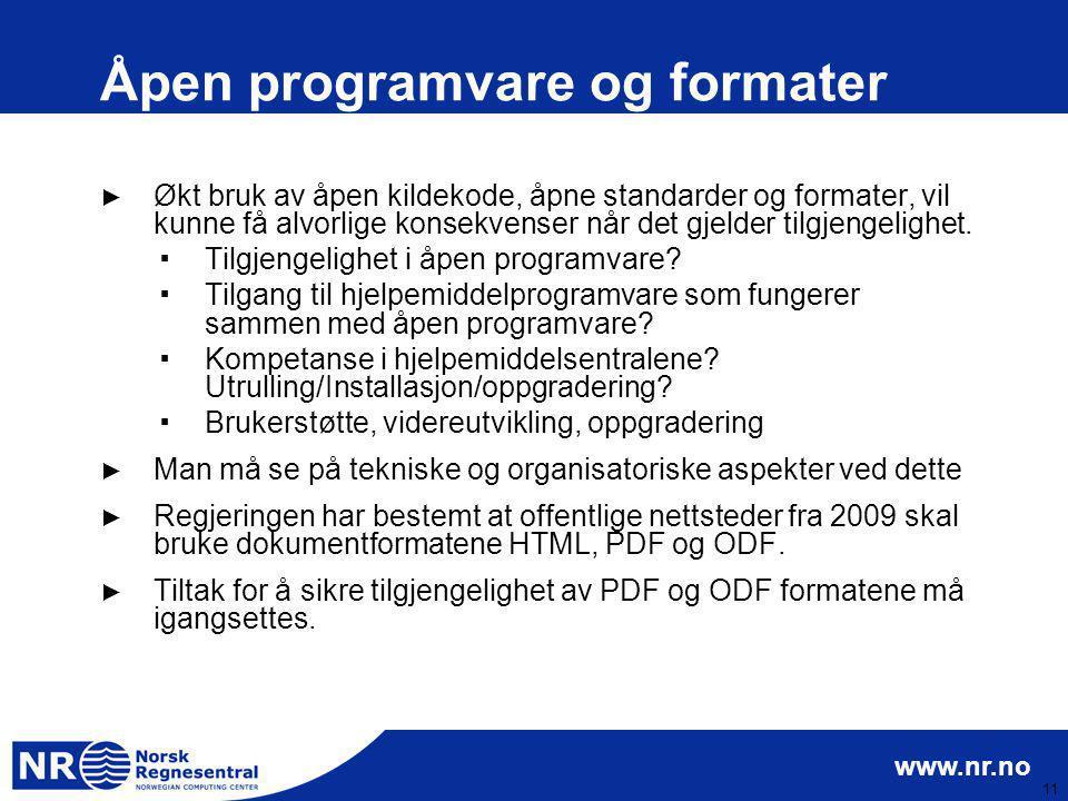 Åpen programvare og formater
