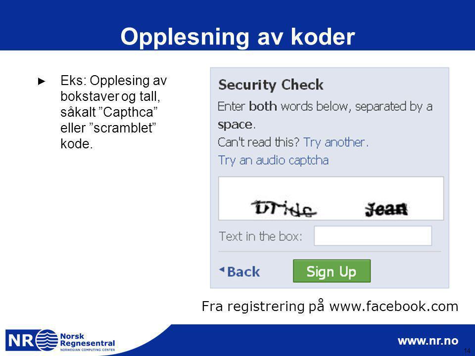 Fra registrering på www.facebook.com