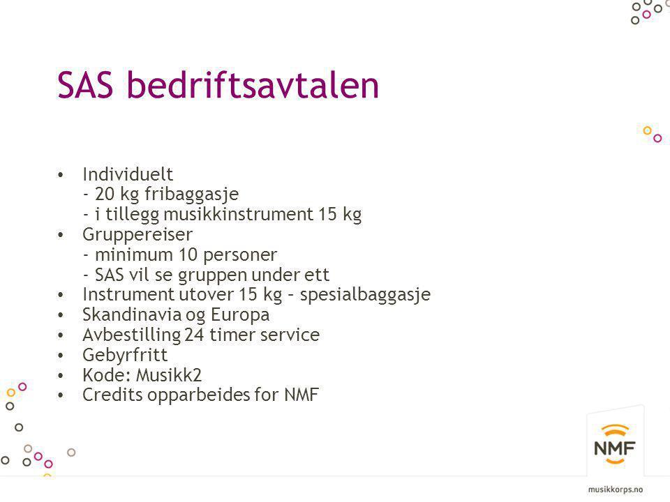 SAS bedriftsavtalen Individuelt - 20 kg fribaggasje
