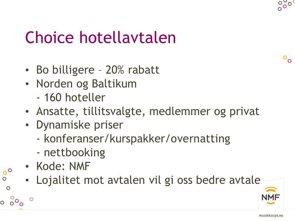 Choice hotellavtalen Bo billigere – 20% rabatt Norden og Baltikum