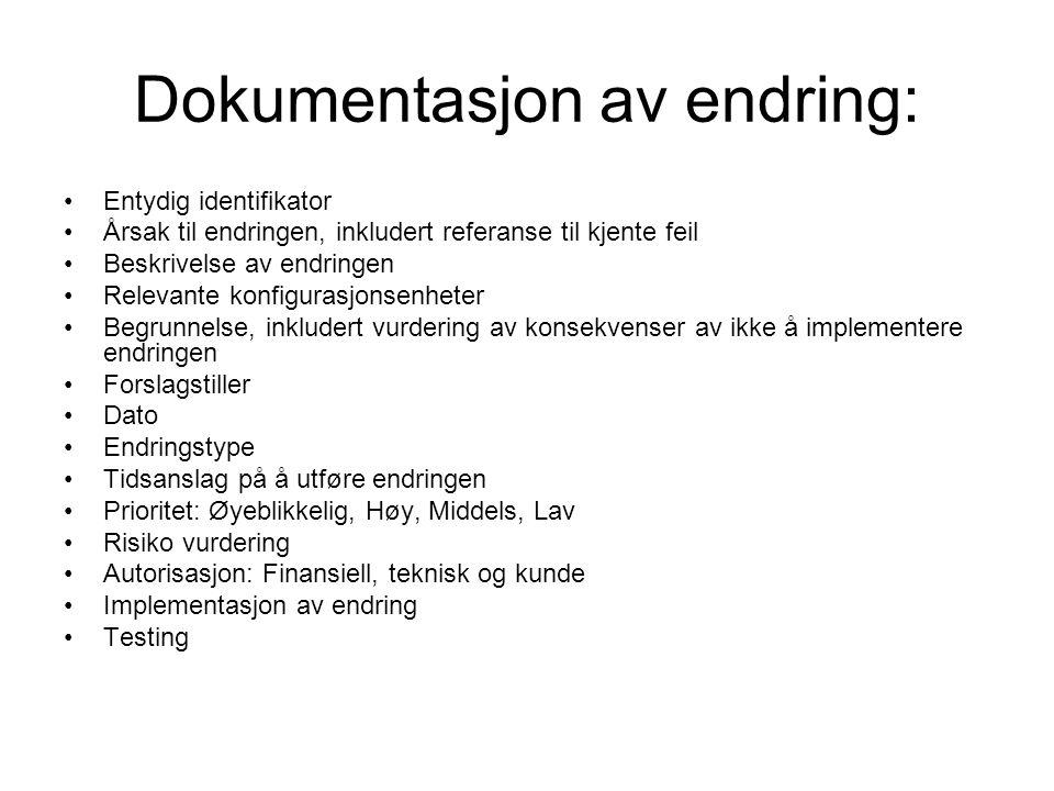 Dokumentasjon av endring: